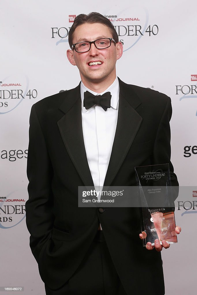 Alex Sugarman of the Chicago Cubs poses with award at the 2013 Forty Under 40 Awards on April 4, 2013 in Naples, Florida.