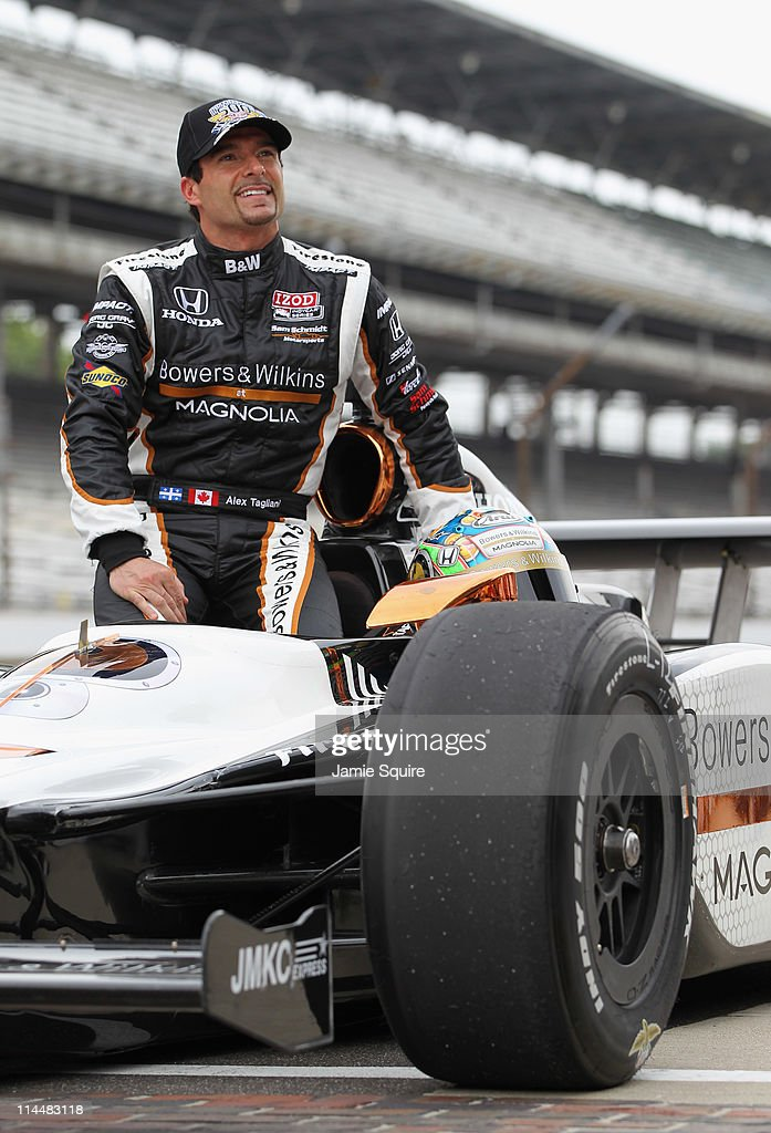 <a gi-track='captionPersonalityLinkClicked' href=/galleries/search?phrase=Alex+Tagliani&family=editorial&specificpeople=220628 ng-click='$event.stopPropagation()'>Alex Tagliani</a> of Canada, driver of the #77 Bowers & Wilkins/Sam Schmidt Motorsports Dallara Honda, smiles during qualifying for the Indianapolis 500 on May 21, 2011 at Indianapolis Motor Speedway in Indianapolis, Indiana.