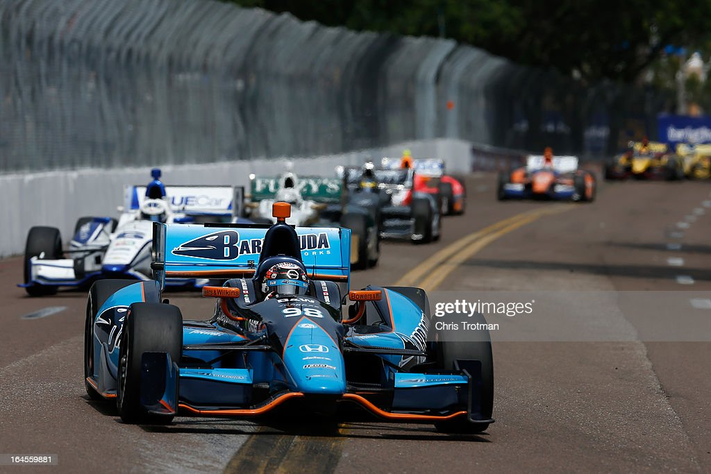 Alex Tagliani of Canada, drives the #98 Barracuda Racing Dallara Honda during the IZOD IndyCar Series Honda Grand Prix of St Petersburg on March 24, 2013 in St Petersburg, Florida.