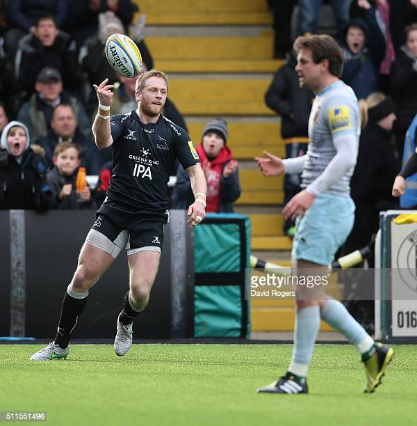 Alex Tait of Newcastle celebrates after scoring the first try during the Aviva Premiership match between Newcastle Falcons and Northampton Saints at...