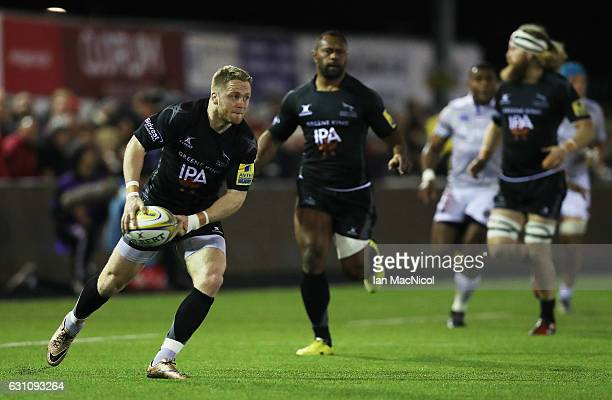 Alex Tait of Newcastle Falcons passes the ball during the Aviva Premiership match between Newcastle Falcons and Bath Rugby at Kingston Park on...
