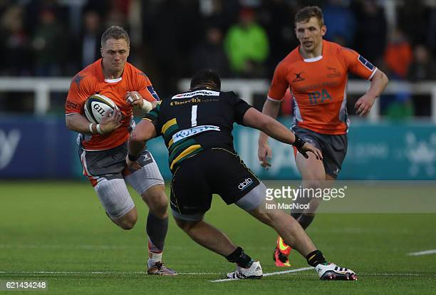 Alex Tait of Newcastle Falcons runs with the ball during the AngloWelsh Cup match between Newcastle Falcons and Northampton Saints at Kingston Park...