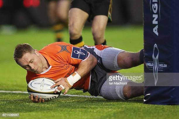 Alex Tait of Newcastle Falcons scores a try during the AngloWelsh Cup match between Newcastle Falcons and Northampton Saints at Kingston Park on...