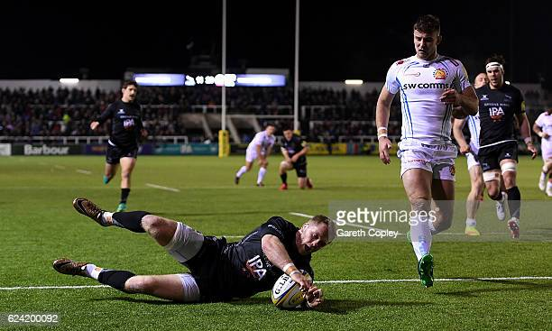 Alex Tait of Newcastle scores a second half try during the Aviva Premiership match between Newcastle Falcons and Exeter Chiefs at Kingston Park on...