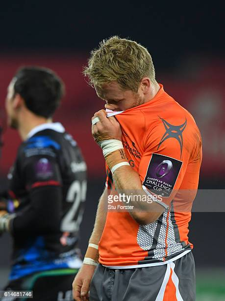Alex Tait of the Falcons reacts after the European Rugby Challenge Cup match Ospreys and Newcastle Falcons at The Liberty Stadium on October 14 2016...