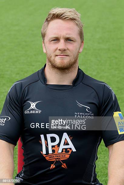 Alex Tait poses for a portrait during the Newcastle Falcons squad photocall for the 20162017 Aviva Premiership Rugby season on August 17 2016 in...