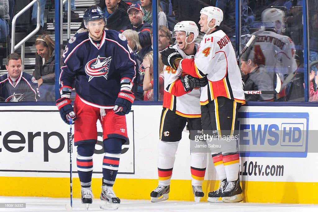 <a gi-track='captionPersonalityLinkClicked' href=/galleries/search?phrase=Alex+Tanguay&family=editorial&specificpeople=203231 ng-click='$event.stopPropagation()'>Alex Tanguay</a> #40 of the Calgary Flames celebrates his game-winning overtime goal with teammate <a gi-track='captionPersonalityLinkClicked' href=/galleries/search?phrase=Jay+Bouwmeester&family=editorial&specificpeople=201875 ng-click='$event.stopPropagation()'>Jay Bouwmeester</a> #4 of the Calgary Flames as <a gi-track='captionPersonalityLinkClicked' href=/galleries/search?phrase=Artem+Anisimov&family=editorial&specificpeople=543215 ng-click='$event.stopPropagation()'>Artem Anisimov</a> #42 of the Columbus Blue Jackets skates by on February 7, 2013 at Nationwide Arena in Columbus, Ohio. Calgary defeated Columbus in overtime 4-3.