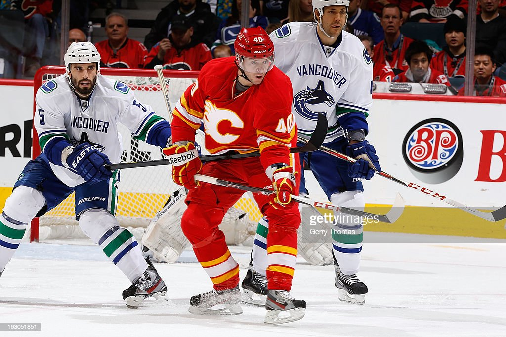 <a gi-track='captionPersonalityLinkClicked' href=/galleries/search?phrase=Alex+Tanguay&family=editorial&specificpeople=203231 ng-click='$event.stopPropagation()'>Alex Tanguay</a> #40 of the Calgary Flames skates against <a gi-track='captionPersonalityLinkClicked' href=/galleries/search?phrase=Jason+Garrison&family=editorial&specificpeople=2143635 ng-click='$event.stopPropagation()'>Jason Garrison</a> #5 of the Vancouver Canucks on March 3, 2013 at the Scotiabank Saddledome in Calgary, Alberta, Canada.