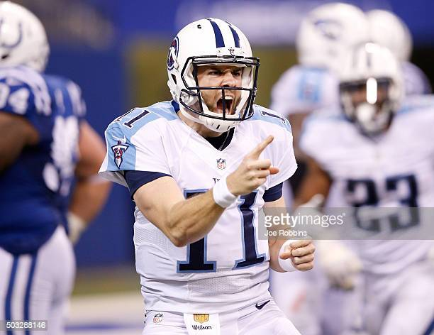 Alex Tanney of the Tennessee Titans celebrates after scoring a touchdown against the Indianapolis Colts at Lucas Oil Stadium on January 3 2016 in...