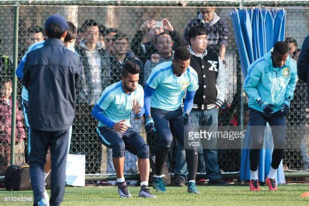 Alex Teixeira Jo and Ramires of Jiangsu Suning attend a training session at Nanjing Olympic Sports Center on February 18 2016 in Nanjing Jiangsu...