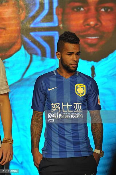 Alex Teixeira of Jiangsu Suning FC attends the mobilization meeting for the AFC Champions League 2016 on February 18 2016 in Nanjing China