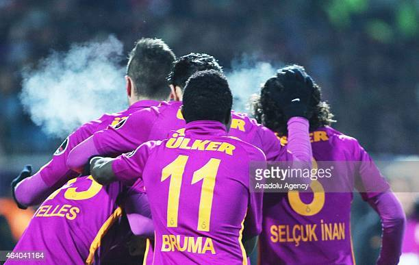 Alex Telles Bruma and Selcuk Inan of Galatasaray celebrate a goal during the Turkish Spor Toto Super League football match between Sivasspor and...