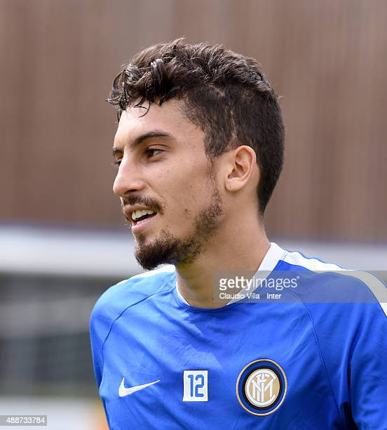 Alex Telles looks on during a training session at the club's training ground at Appiano Gentile on September 17 2015 in Como Italy