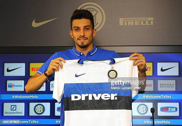 Alex Telles new signing for FC Internazionale Milano pose with the club shirt during a press conference at the club's training ground on September 3...