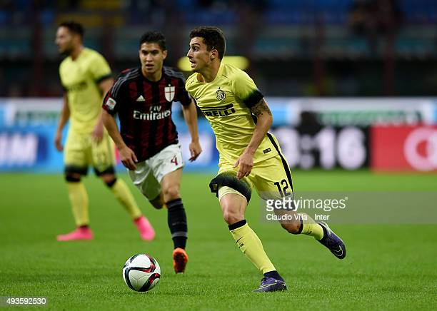 Alex Telles of FC Internazionale in action during the Berlusconi Trophy match between AC Milan and FC Internazionale at Stadio Giuseppe Meazza on...
