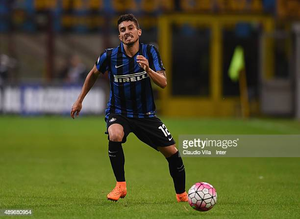 Alex Telles of FC Internazionale in action during the Serie A match between FC Internazionale Milano and Hellas Verona FC at Stadio Giuseppe Meazza...