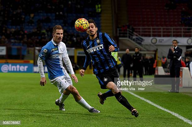 Alex Telles of FC Internazionale in action during the Serie A match between FC Internazionale Milano and AC Chievo Verona at Stadio Giuseppe Meazza...