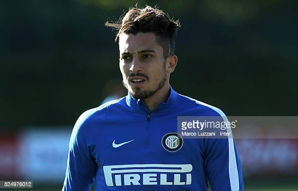 Alex Telles of FC Internazionale looks on during the FC Internazionale training session at the club's training ground 'La Pinetina' on April 27 2016...