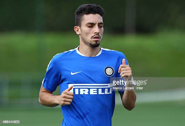 Alex Telles of FC Internazionale Milano runs during FC Internazionale training session at the club's training ground on September 4 2015 in Appiano...
