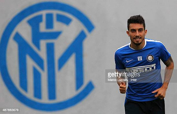 Alex Telles of FC Internazionale trains during FC Internazionale training session at the club's training ground on September 12 2015 in Appiano...
