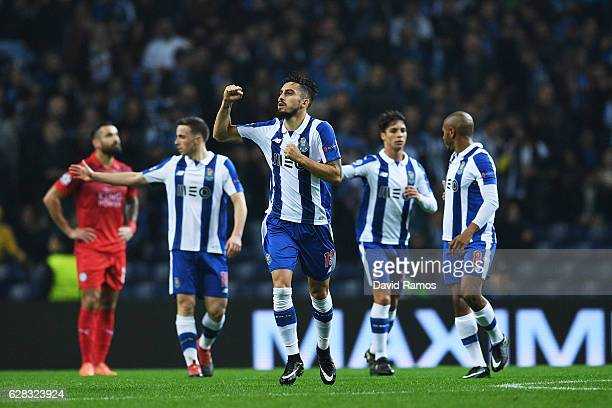 Alex Telles of FC Porto celebrates scoring his sides second goal during the UEFA Champions League Group G match between FC Porto and Leicester City...