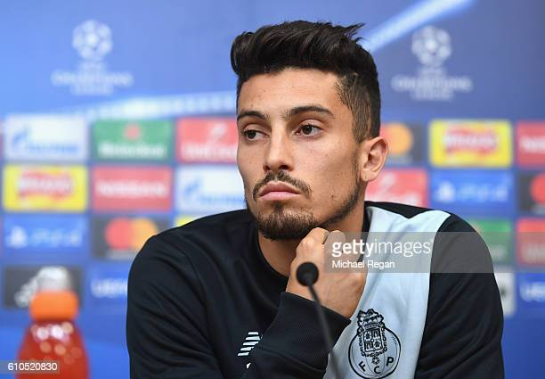 Alex Telles of FC Porto speaks during a FC Porto Training Session and Press Conference ahead of their Champions League match against Leicester City...