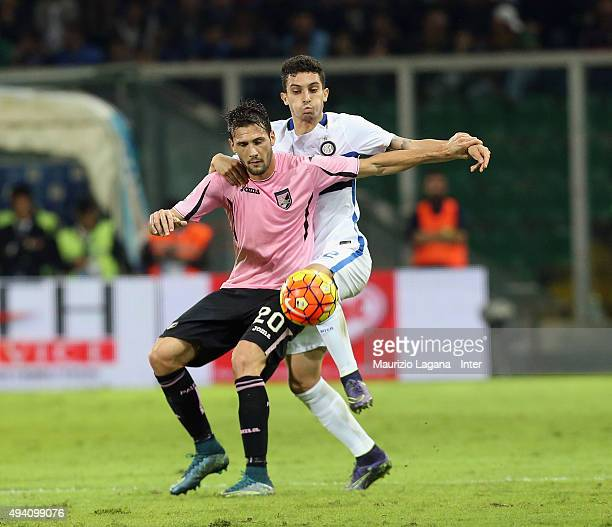 Alex Telles of Inter competes for the ball with Franco Vazquez of Palermo during the Serie a match between US Citta di Palermo and FC Internazionale...