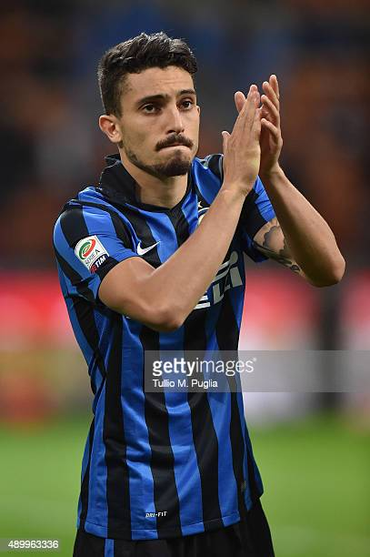 Alex Telles of Internazionale Milano greets supporters during the Serie A match between FC Internazionale Milano and Hellas Verona FC at Stadio...