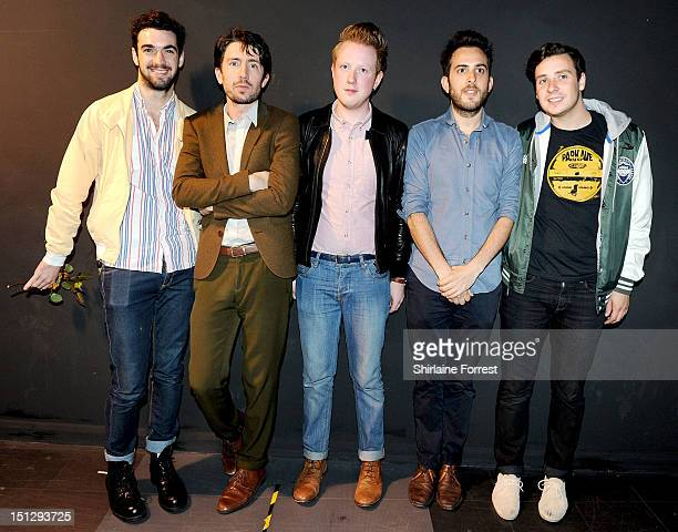Alex Trimble Kevin Baird and Sam Halliday of Two Door Cinema Club are joined by Rick Boardman and James Cook of Delphic after meeting fans at signing...