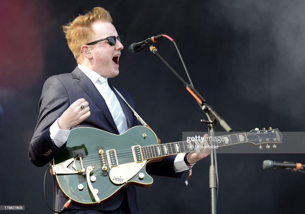 <a gi-track='captionPersonalityLinkClicked' href=/galleries/search?phrase=Alex+Trimble&family=editorial&specificpeople=6920992 ng-click='$event.stopPropagation()'>Alex Trimble</a> of Two Door Cinema Club performs as part of Lollapalooza 2013 at Grant Park on August 4, 2013 in Chicago, Illinois.