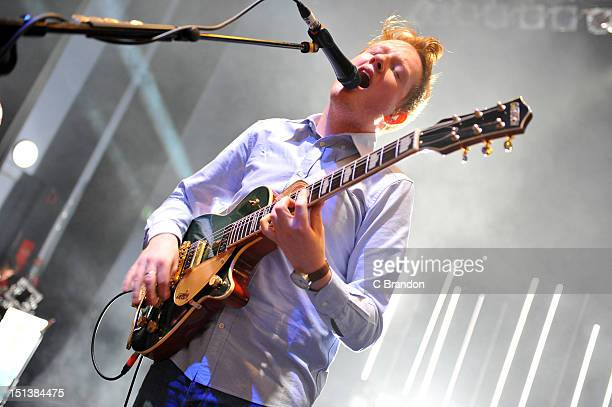 Alex Trimble of Two Door Cinema Club performs on stage at Shepherds Bush Empire on September 6 2012 in London United Kingdom