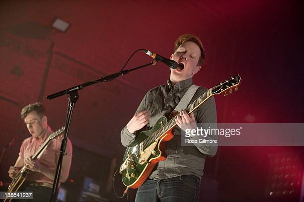 Alex Trimble of Two Door Cinema Club performs on stage during the first night of the NME Awards Tour at O2 Academy on February 8 2012 in Glasgow...