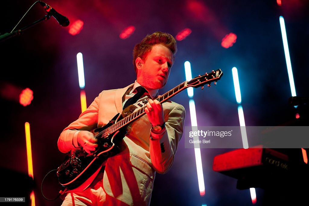 <a gi-track='captionPersonalityLinkClicked' href=/galleries/search?phrase=Alex+Trimble&family=editorial&specificpeople=6920992 ng-click='$event.stopPropagation()'>Alex Trimble</a> of Two Door Cinema Club performs on stage on Day 2 of Electric Picnic Festival 2013 at Stradbally Hall Estate on August 31, 2013 in Dublin, Ireland.