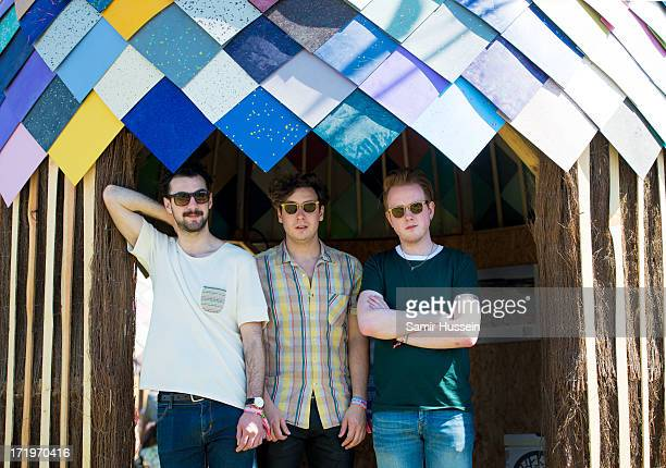 Alex Trimble Sam Halliday Kevin Baird of Two Door Cinema Club pose for a portrait backstage at the Glastonbury Festival of Contemporary Performing...