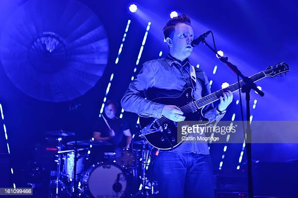 Alex trimble Two Door Cinema Club performs on stage at 02 Academy Brixton on February 8 2013 in London England