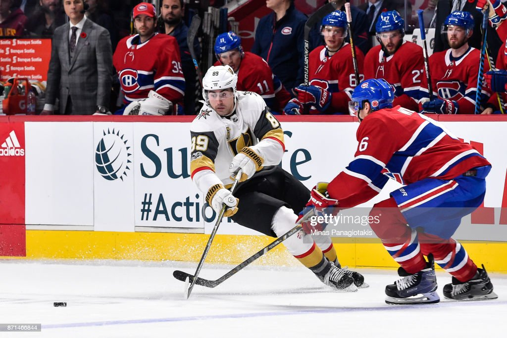 Alex Tuch #89 of the Vegas Golden Knights tries to skate after the puck against Shea Weber #6 of the Montreal Canadiens during the NHL game at the Bell Centre on November 7, 2017 in Montreal, Quebec, Canada. The Montreal Canadiens defeated the Vegas Golden Knights 3-2.