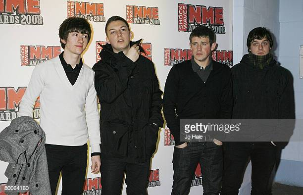 Alex Turner and his band Artic Monkeys arrives at the Shockwaves NME Awards Arrivals 2008 at the Indigo O2 on February 28 2008 in London England