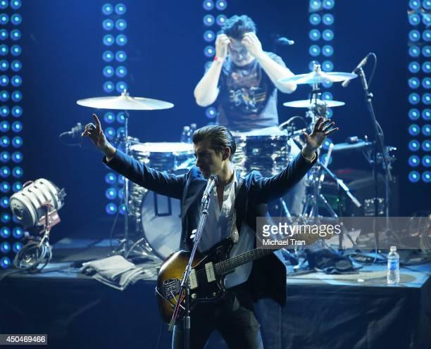 Alex Turner and Matt Helders of Arctic Monkeys perform onstage during iHeartRadio Live Series With Arctic Monkeys held at iHeartRadio Theater on June...