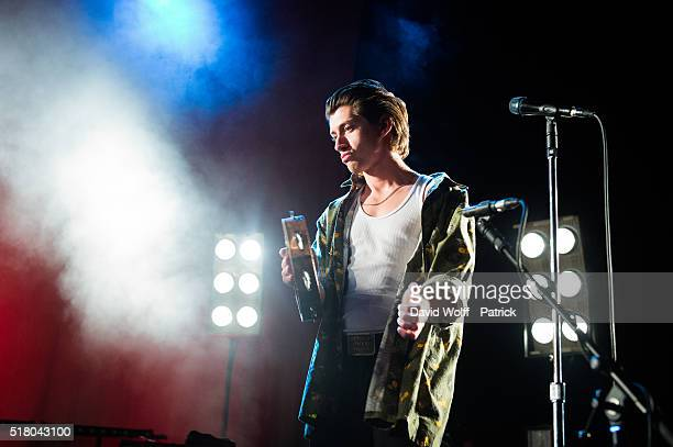 Alex Turner from The Last Shadow Puppets performs at L'Olympia on March 29 2016 in Paris France