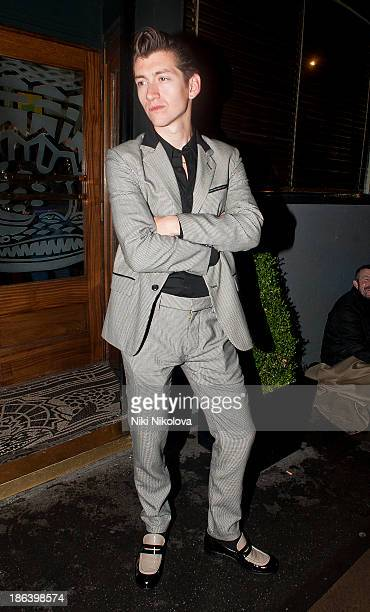 Alex Turner is sighted leaving The Groucho Club Mayfair on October 30 2013 in London England