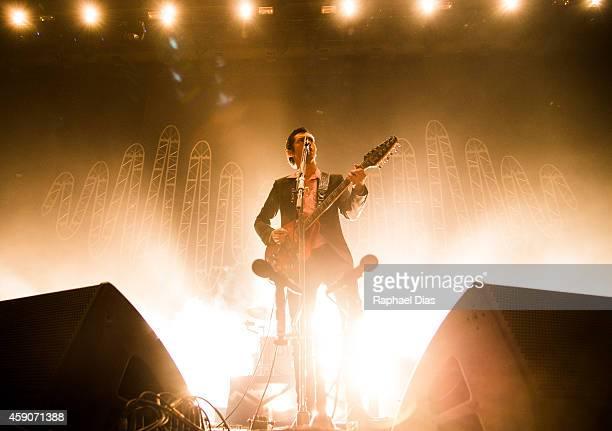 Alex Turner of Arctic Monkeys performs at HSBC Arena on November 15 2014 in Rio de Janeiro Brazil