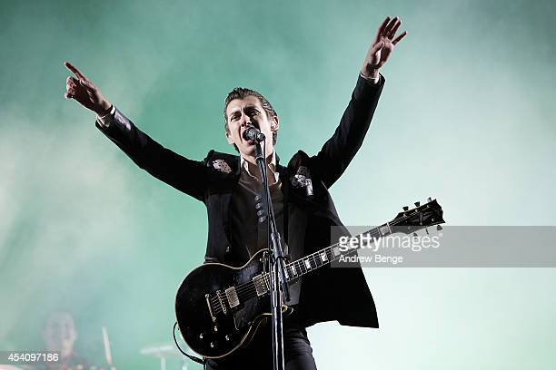 Alex Turner of Arctic Monkeys performs on stage at Leeds Festival at Bramham Park on August 24 2014 in Leeds United Kingdom