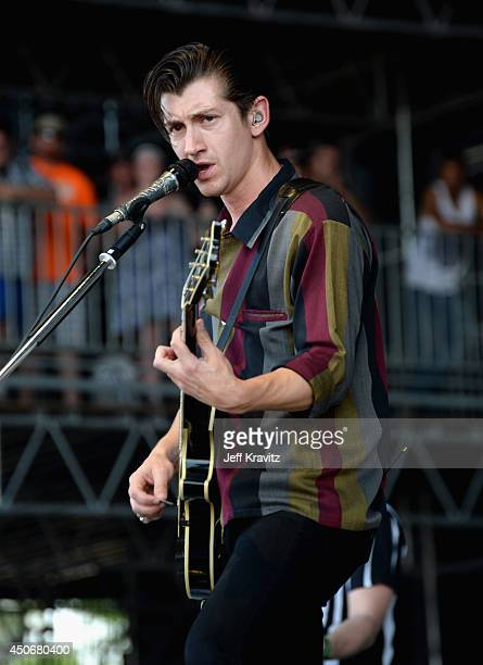 Alex Turner of Arctic Monkeys performs onstage at What Stage during day 4 of the 2014 Bonnaroo Arts And Music Festival on June 15 2014 in Manchester...