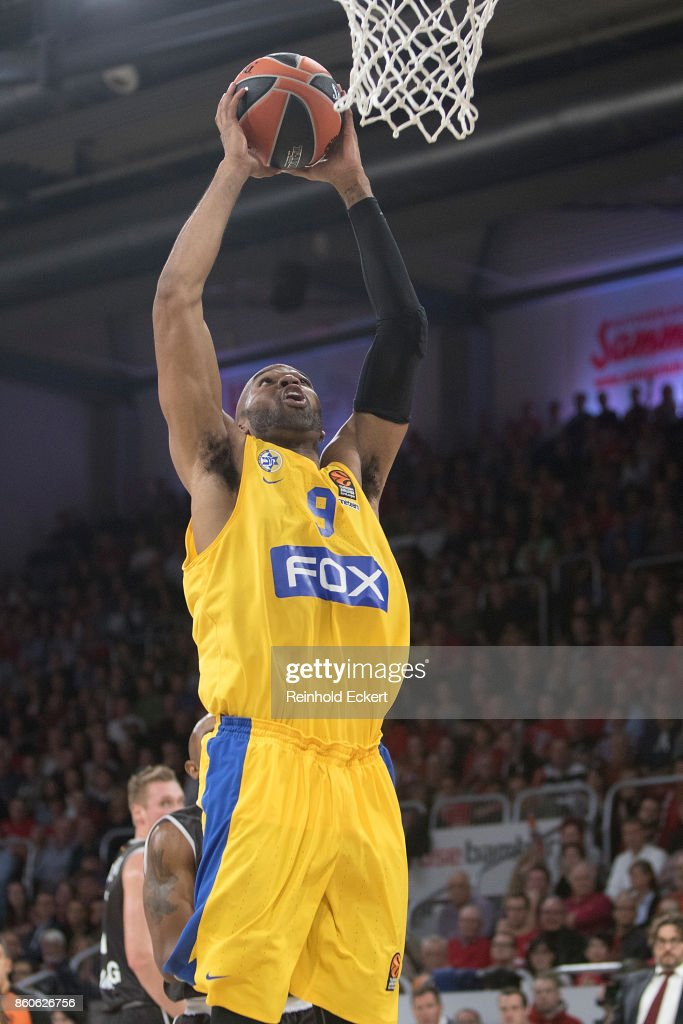 Alex Tyus, #9 of Maccabi Fox Tel Aviv in action during the 2017/2018 Turkish Airlines EuroLeague Regular Season Round 1 game between Brose Bamberg v Maccabi Fox Tel Aviv at Brose Arena on October 12, 2017 in Bamberg, Germany.