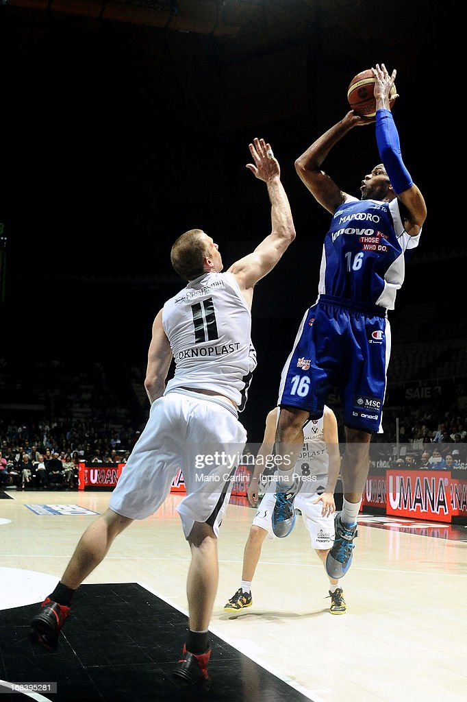 Alex Tyus of Lenovo competes with Mason Rocca of Oknoplast during the LegaBasket A1 basketball match between Oknoplast Bologna and Lenovo Cantu at Unipol Arena on May 5, 2013 in Bologna, Italy.