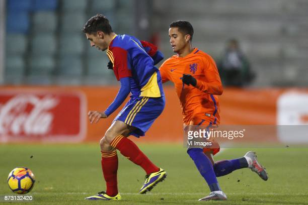 Alex Villagrasa of Jong Andorra Justin Kluivert of Jong Oranje during the EURO U21 2017 qualifying match between Netherlands U21 and Andorra U21 at...
