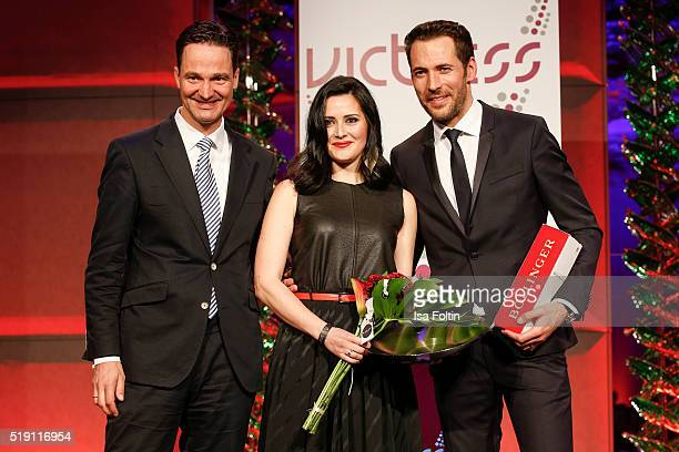 Alex von Frankenberg Alexander Mazza and AnneChristin Bansleben attend the Victress Awards Gala on April 4 2016 in Berlin Germany