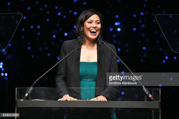 Alex Wagner speaks onstage during 69th Writers Guild Awards New York Ceremony at Edison Ballroom on February 19 2017 in New York City