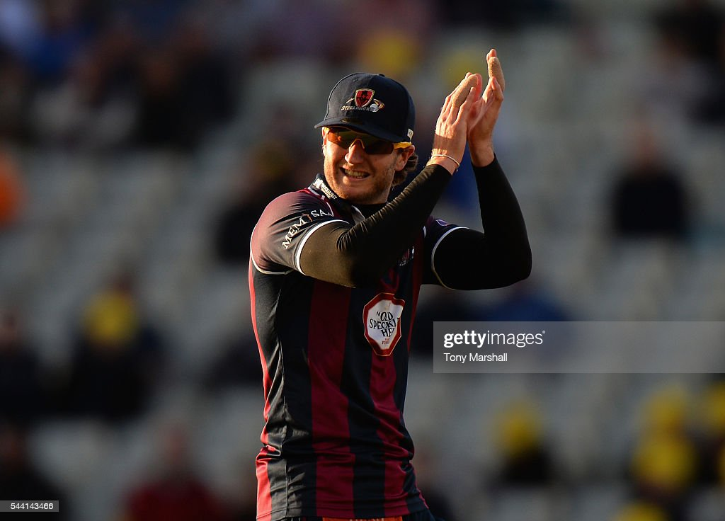 Alex Wakely of Northants Steelbacks applauds his players during the NatWest T20 Blast between Birmingham Bears and Northants Steelbacks at Edgbaston on July 1, 2016 in Birmingham, England.