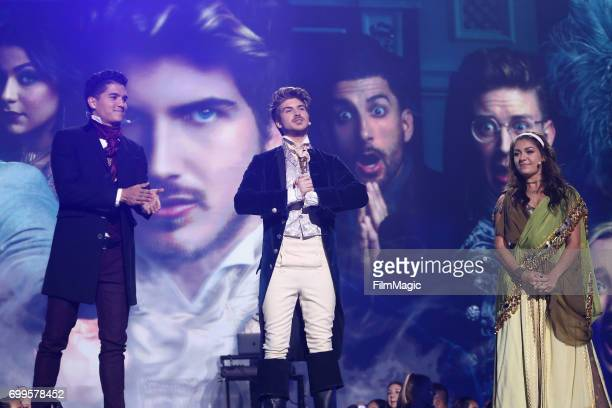 Alex Wassabi Joey Graceffa and Andrea Russett appear at #YouTubeOnstage at VidCon 2017 at Anaheim Convention Center on June 21 2017 in Anaheim...